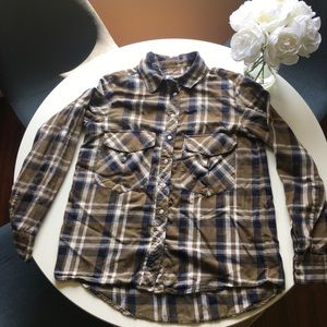 Zara Plaid Button-Up Shirt- Brown, Blue, Medium